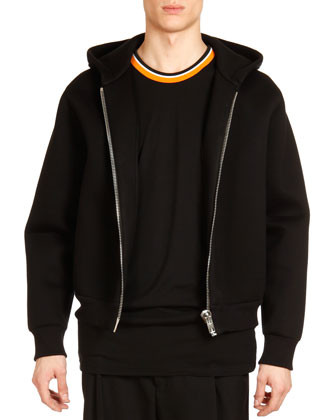 Neoprene Big-Zipper Hoodie, Black
