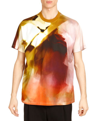 Abstract-Print Tee, Brown