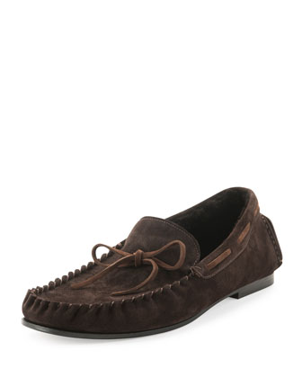 Anthony Shearling Lined Moccasin, Dark Brown
