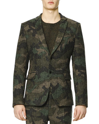 Camo/Herringbone Two-Button Jacket
