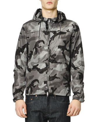 Camo Kangaroo-Pocket Wind-Block Jacket & Dark Clean-Wash Denim Jeans