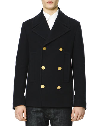 Felt Golden-Button Navy Peacoat & Dark Clean-Wash Denim Jeans
