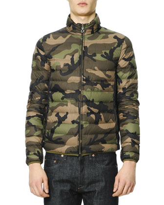 Camo Lightweight Packaway Puffer Jacket & Dark Clean-Wash Denim Jeans