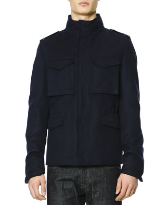 Cotton-Cashmere Field Jacket with Removable Hood