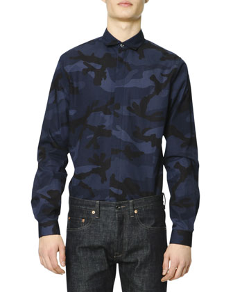 Long-Sleeve Camo-Print Shirt, Navy
