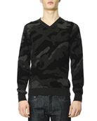 Camo-Front Cashmere Sweater, Charcoal/Multicolor