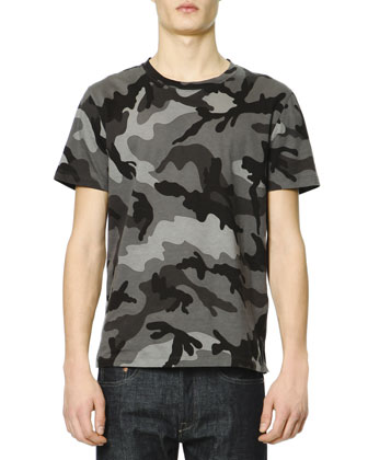 Short-Sleeve Camo T-Shirt, Gray/Black
