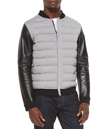 Puffer Jacket with Leather Sleeves, Light Gray/Black