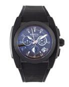 Mediterraneo Rubber-Strap Watch, Black