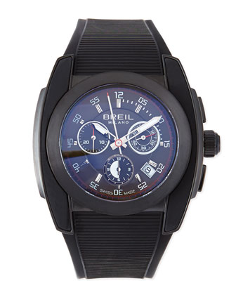 Mediterraneo Rubber-Strap Watch, Black