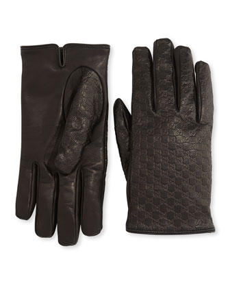 Micro GG Napa Leather Gloves