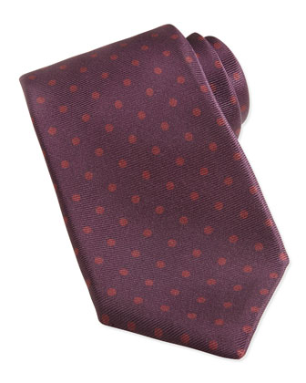 Polka-Dot Pattern Tie, Gray/Brown