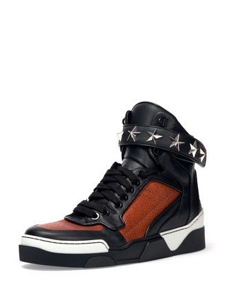 Basketball Star-Studded High-Top Sneaker, Black