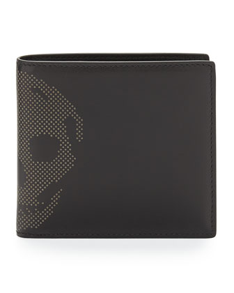 Skull-Studded Leather Wallet, Black