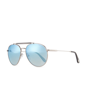 Colin Round Aviator Sunglasses, Silver