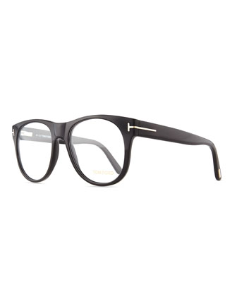 Round Acetate Fashion Glasses, Black