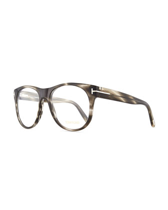 Round Acetate Fashion Glasses, Gray