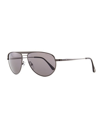 William Metal Aviator Sunglasses, Gray