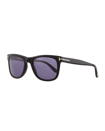 Leo Acetate Sunglasses, Black