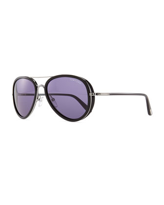 Miles Aviator Sunglasses, Gray