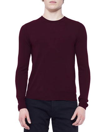 Crewneck Sweater, Deep Red