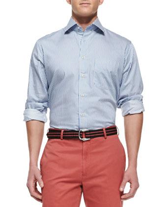 Blue Bengal-Stripe Dress Shirt, Navy