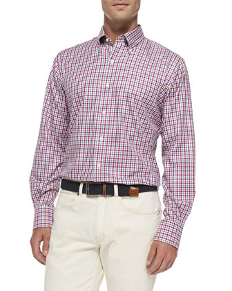 Small Tattersall Sport Shirt, Pink Multi