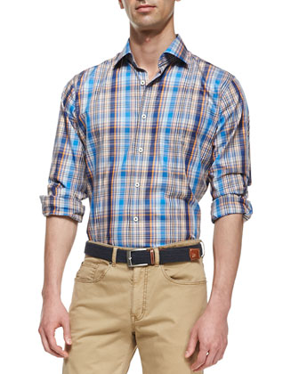 Multi-Plaid Poplin Shirt
