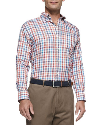 Poplin Check Sport Shirt, Orange-Blue-Red Multi
