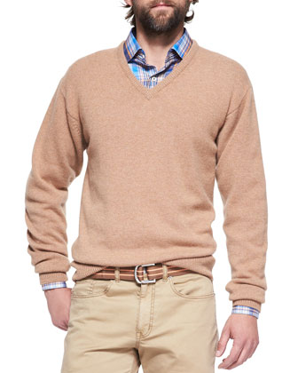 Hops Loro Piana Cotton V-Neck Sweater, Multi-Plaid Poplin Shirt & Hops Loro ...