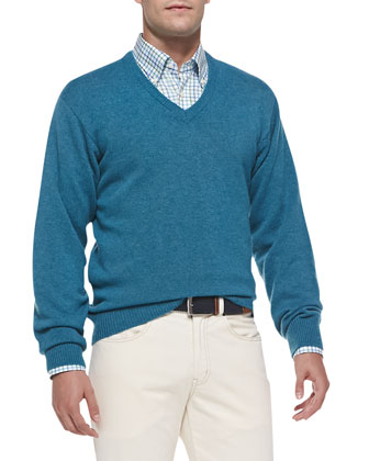 Cashmere V-Neck Sweater, Niagara