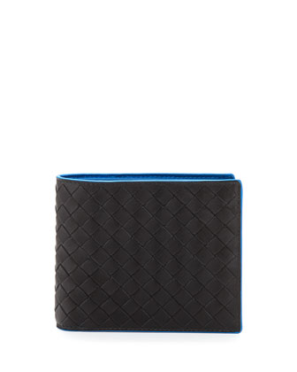 Bicolor Intrecciato Wallet, Black/Blue