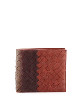 Tricolor Intrecciato Leather Wallet