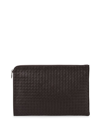 Woven Leather Portfolio Case, Brown