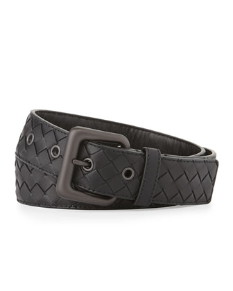 Intrecciato Gunmetal Buckle Belt, Black