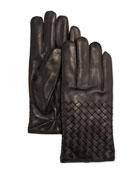 Men's Woven Leather Gloves, Black