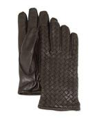 Men's Woven Leather Gloves, Gray