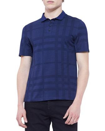 Tonal-Check Polo Shirt, Navy