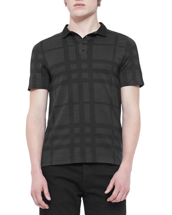 Tonal-Check Polo Shirt, Black