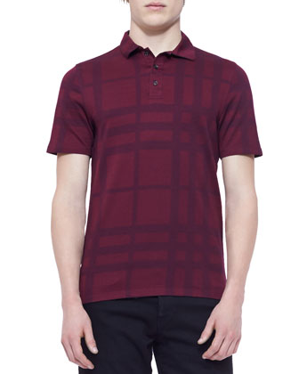 Tonal-Check Polo Shirt, Maroon