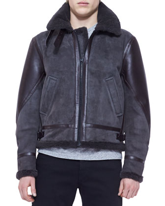 Shearling Bomber Jacket, Charcoal