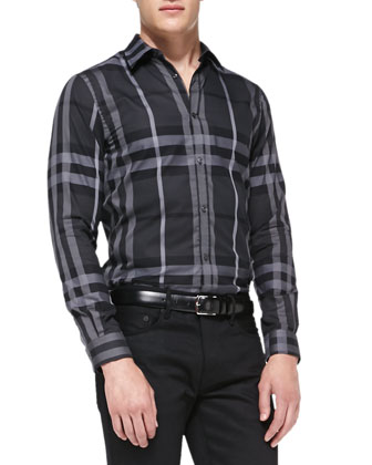 Long-Sleeve Check Shirt, Navy
