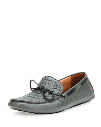 Woven Leather Driver, Gray