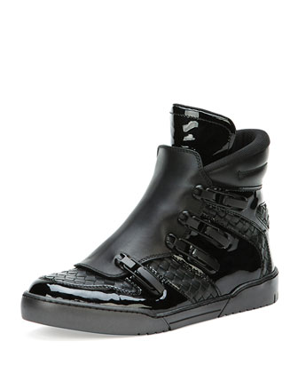 Woven High-Top Sneaker with Ski Closure, Black