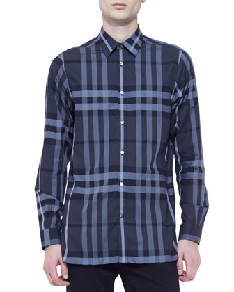 Long-Sleeve Check Shirt, Blue/Charcoal
