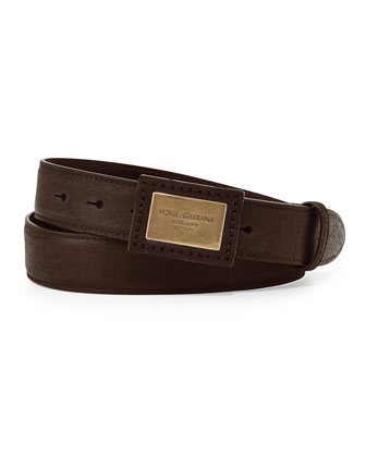Logo Plaque Leather Belt, Brown