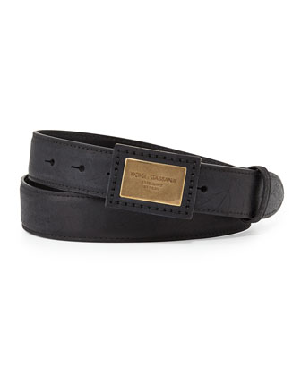 Logo Plaque Leather Belt, Black