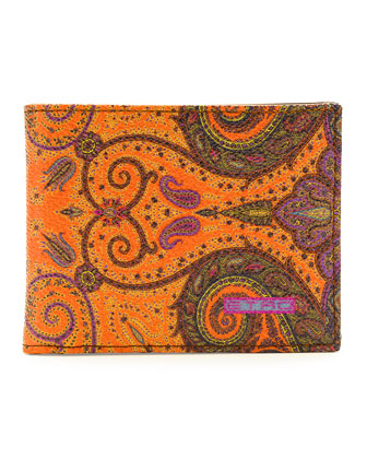 Paisley-Print Leather Wallet, Orange