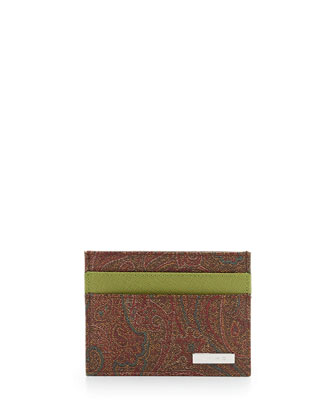 Paisley-Print Credit Card Holder, green multi