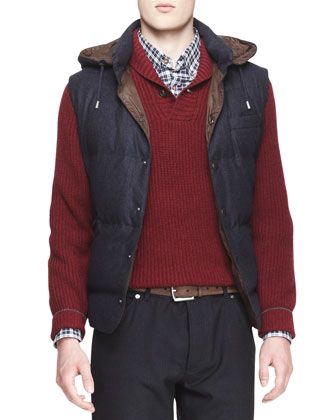 Hooded Flannel Puffer Vest, Shaker-Knit Cashmere Shawl Cardigan, Madras ...